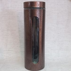 Bronze Glass Canister w/ Lid - Tall Jar - 64 oz